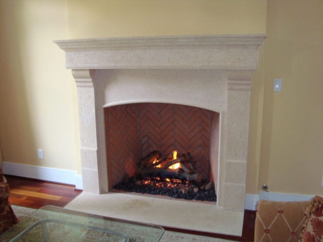 Cast Cement Fireplace