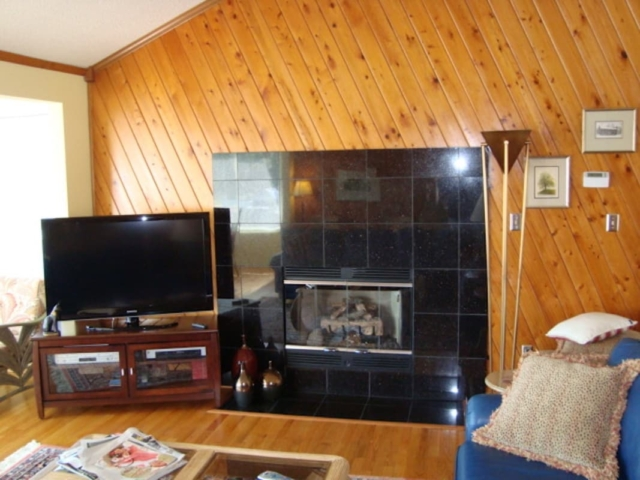 Black Granite Tile Fireplace