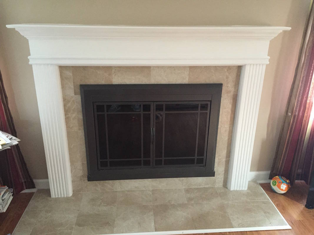 Mantel and Tile Fireplace